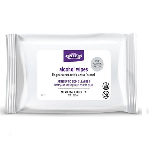 Relaxus Alcohol Wipes 50-Pack | UPC: 628949200055