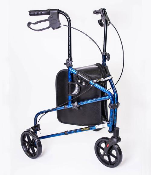 MOBB 3 Wheel Aluminum Rollator Walker - Blue front MOB-MH3RLBE-OP | UPC 844604015882