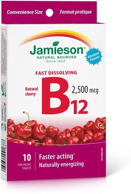 Jamieson Fast Dissolving B12 2500mg natural cherry 10 sublingual Tablets -  JM-1181-001