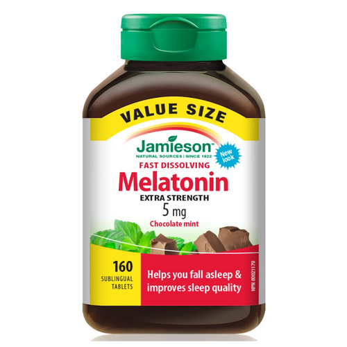 Jamieson Fast Dissolving Melatonin 5 mg Chocolate Mint - 160 Sublingual Tablets   064642094698
