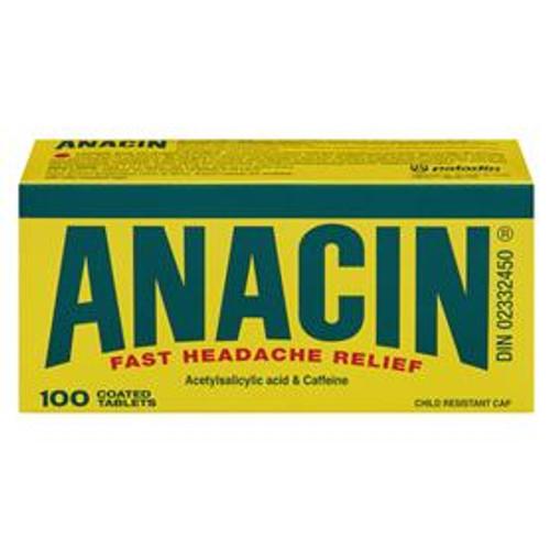 Anacin Fast Headache Relief 325mg 100 Coated Tablets   628791869790