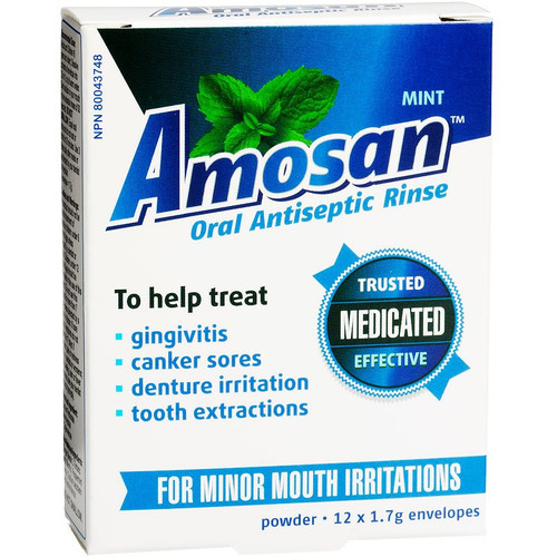 Amosan Oral Antiseptic Rinse Mint 12 x 1.7g Powder Envelopes -  AMN-1000-001