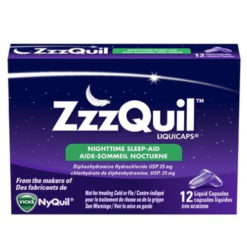 ZZZQuil Nighttime Liquidcaps Sleep-Aid  12 Liquid Capsules   056100075059   80208872