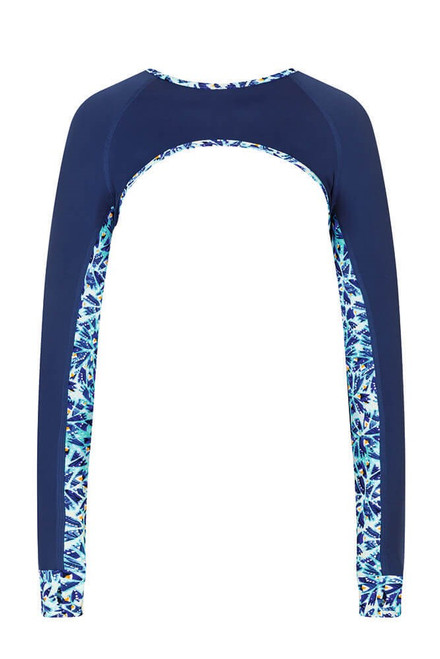 Amoena Ice Flowers Sleeve Swimtop - Frozen/Night Blue   AMO-71454   4026275430188, 4026275430195, 4026275430201, 4026275430218, 4026275430225