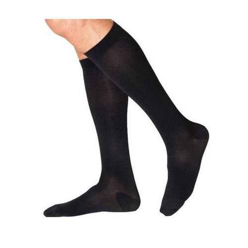 Sigvaris Cotton Comfort Men's Calf High Compression Stocking Large Long Black Closed Toe -  SIG-233CLLM99