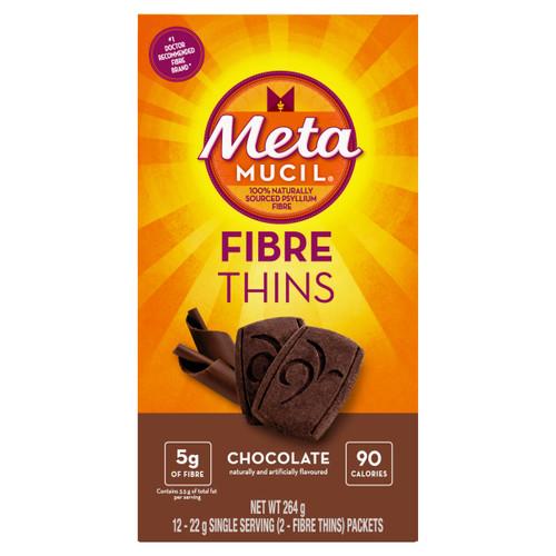 Metamucil Fibre Thins - Chocolate 12 x 22g Single Serving (2-Fibre Thins) Packets | 056100080794