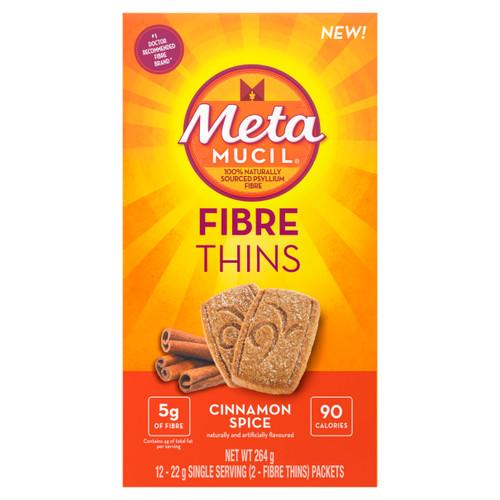 Metamucil Fibre Thins - Cinnamon Spice 12 x 22g Single Serving (2-Fibre Thins) Packets -  MML-1006-001