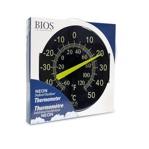 """BIOS Medical Neon 12"""" Indoor-Outdoor Dial Thermometer 
