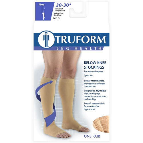 Airway Surgical Truform Compression Stockings Below Knee Open Toe Unisex 20-30 mmHg - One Pair | Box Image