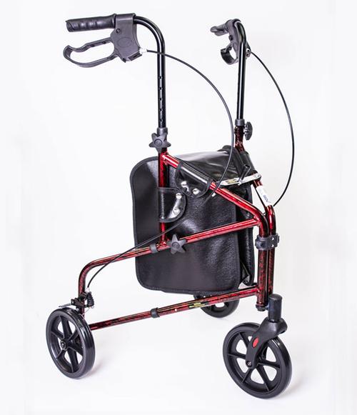 MOBB 3 Wheel Aluminum Rollator Walker - Red front MH3RLRE | UPC: 844604015899