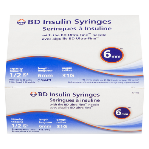 BD Insulin Syringes with Ultra Fine Needle (0.5 mL) 100/Box -  BD-324920