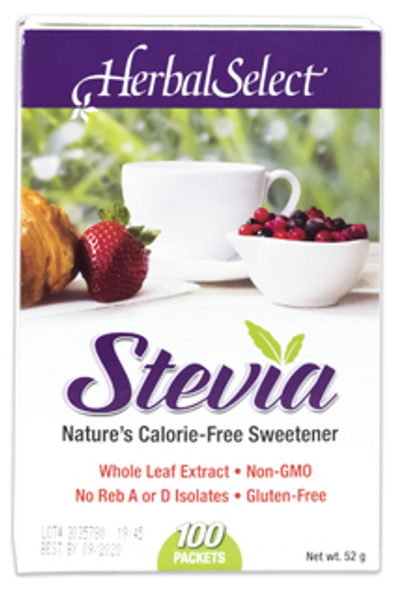 Herbal Select Stevia Whole Leaf Extract Gluten Free 100 x 0.52 g Packets    065279031063
