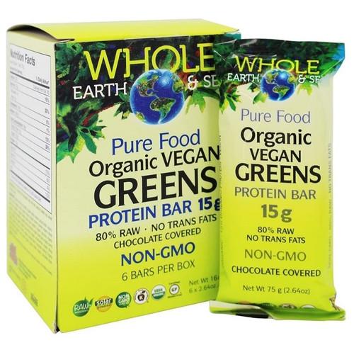 Natural Factors Whole Earth and Sea Organic Vegan Greens Protein Bar 15g | 068958355061 | 068958355092