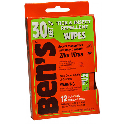 Ben's 30 Tick & Insect Repellent Wipes 12 Individually Wrapped Wipes   044224070852