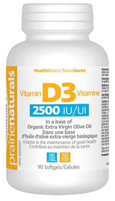 Prairie Naturals Vitamin D3 Softgels 2500IU 90 Softgels|067953006909