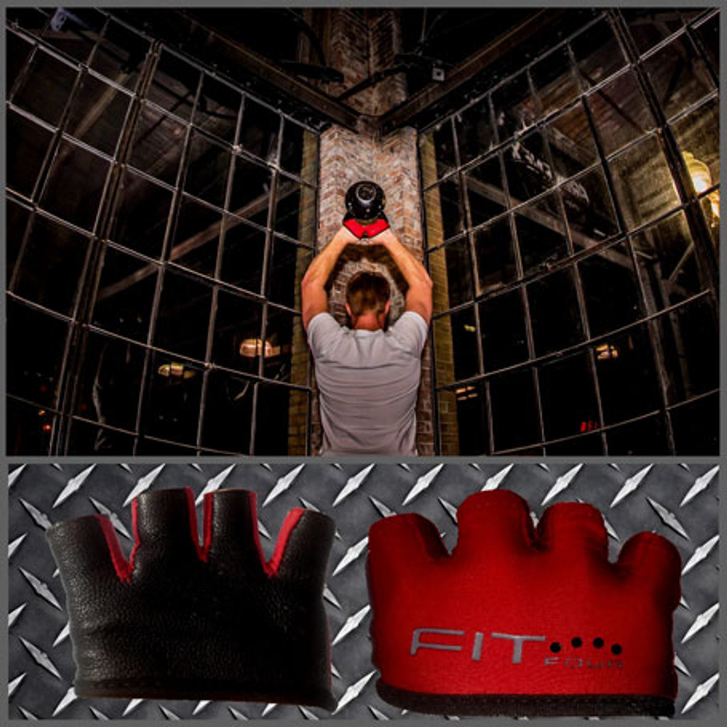 FIT FOUR BLACK AND RED ANTI-RIPPER GLOVES - KETTLEBELL
