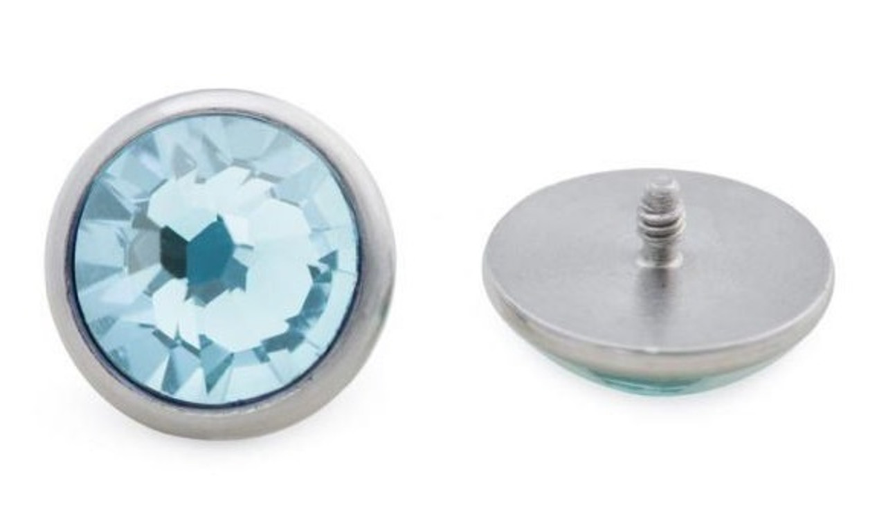 Jeweled Dermal Disc Tops - Stainless Steel