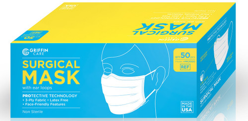 Griffin Care Surgical Mask with ear loops, 50/bx