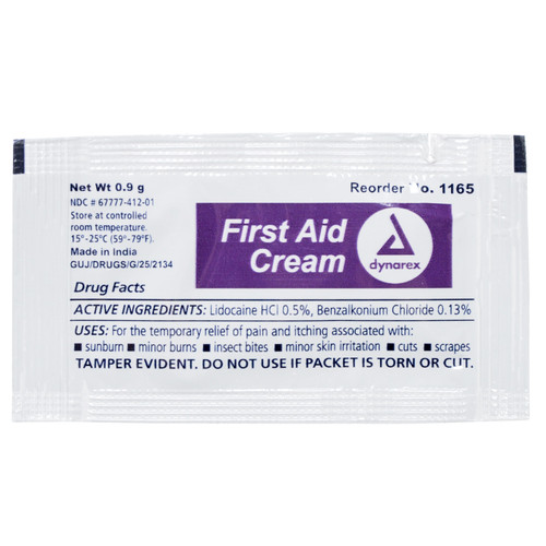 First Aid Burn Cream, 0.9g foil packet, 144/Bx, 12Bx/Cs