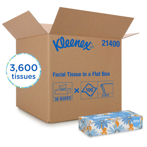 Kleenex Facial Flat Tissue Boxes (36 Boxes/Case, 100 Tissues/Box)