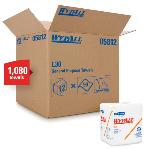 Wypall L30 Economizer 1/4-Fold Wipes, 12-1/2 x 13, 90/Box, 12/Case