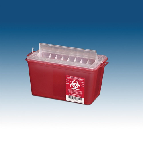 PPI Horizontal Sharps Container Red, Countertop Use
