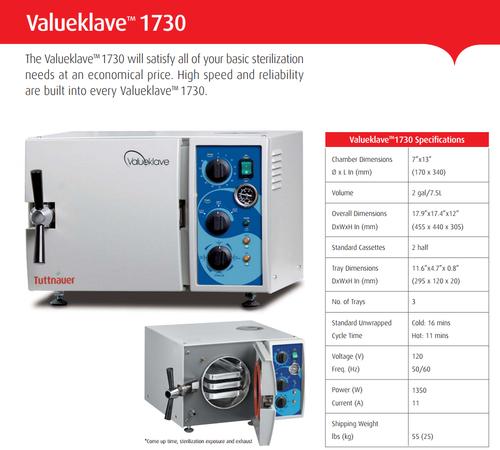 "Tuttnauer Valueklave 1730 Autoclave, 7"" Chamber, Manual"
