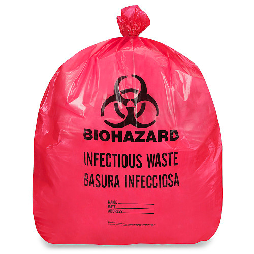 Bio-Hazard 12 Gal. to 16 Gal. 24 in. x 32 in. 1.2 mil Trash Bags, 500/Cs