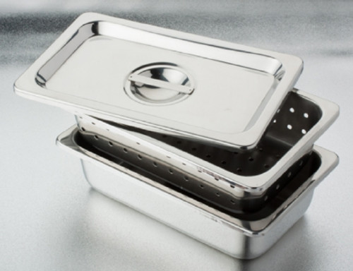 Tech-Med®Stainless 3-Piece Instrument Soaking Trays with Perforated Tray & Lid