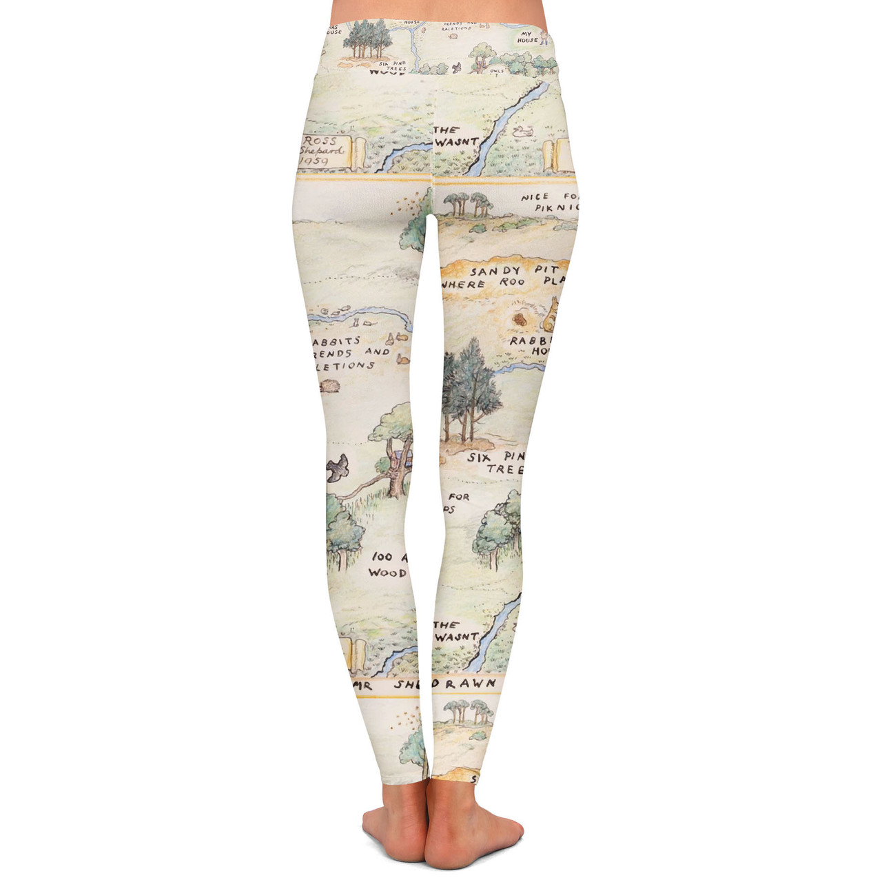 3XL Sports Disney Leggings in Capri or Full Length Winter Styles in Sizes XS Yoga Hundred Acre Wood Map Winnie The Pooh Inspired