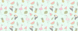 Flamingo Summer Birds & Fruits