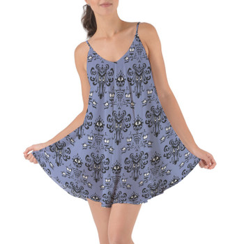 Beach Cover Up Dress - Haunted Mansion Wallpaper