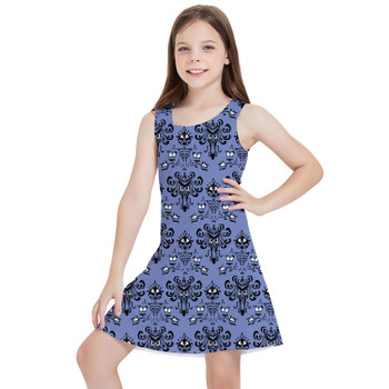 Girls Sleeveless Dress - Haunted Mansion Wallpaper