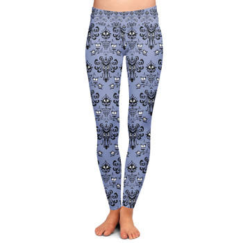 Yoga Leggings - Haunted Mansion Wallpaper