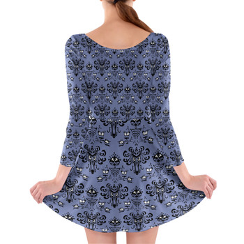 Longsleeve Skater Dress - Haunted Mansion Wallpaper