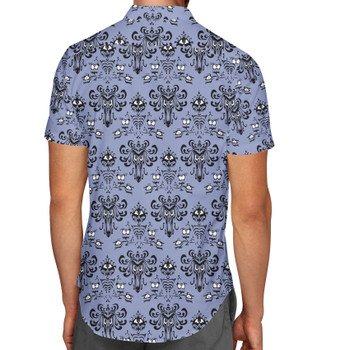 Men's Button Down Short Sleeve Shirt - Haunted Mansion Wallpaper