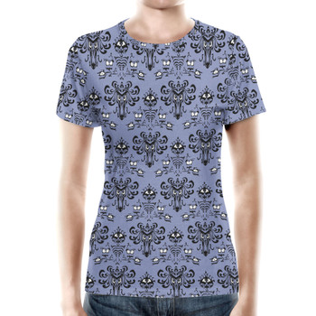 Women's Cotton Blend T-Shirt - Haunted Mansion Wallpaper