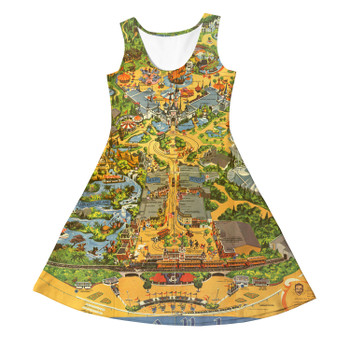 Girls Sleeveless Dress - Disneyland Vintage Map