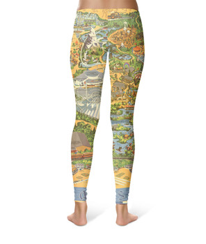 Sport Leggings - Disneyland Vintage Map