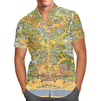 Men's Button Down Short Sleeve Shirt - Disneyland Vintage Map