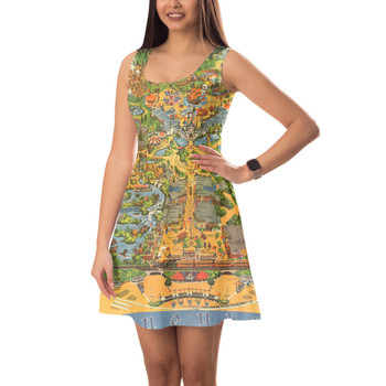 Sleeveless Flared Dress - Disneyland Vintage Map