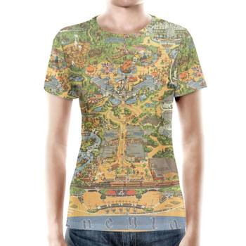 Women's Cotton Blend T-Shirt - Disneyland Vintage Map