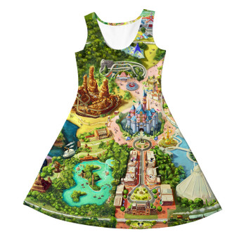 Girls Sleeveless Dress - Disneyland Colorful Map