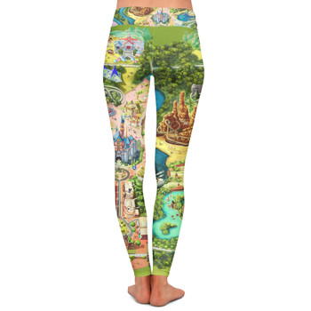 Yoga Leggings - Disneyland Colorful Map