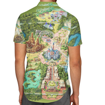 Men's Button Down Short Sleeve Shirt - Disneyland Colorful Map