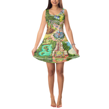 Sleeveless Flared Dress - Disneyland Colorful Map