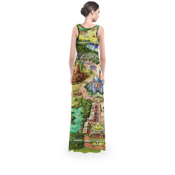Flared Maxi Dress - Disneyland Colorful Map
