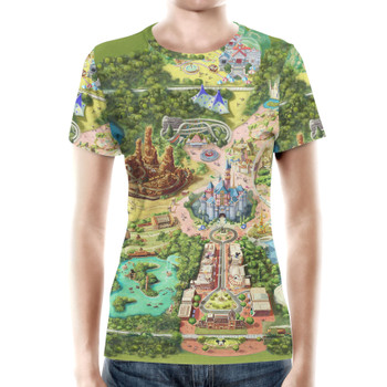 Women's Cotton Blend T-Shirt - Disneyland Colorful Map