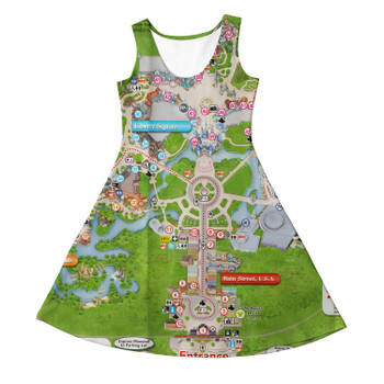 Girls Sleeveless Dress - Magic Kingdom Map