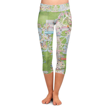 Yoga Capri Leggings - Magic Kingdom Map
